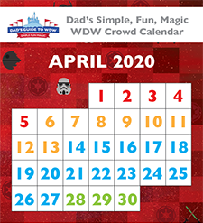 Dad's April 2020 Disney World crowd calendar looking at Easter Week 2020