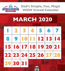 Dad's March 2020 Disney World crowd calendar