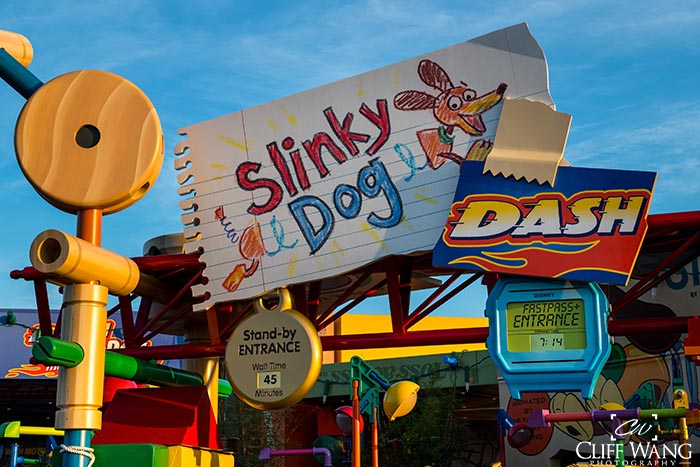 The entrance to Slinky Dog Dash a cool new ride in Disney's Hollywood Studios