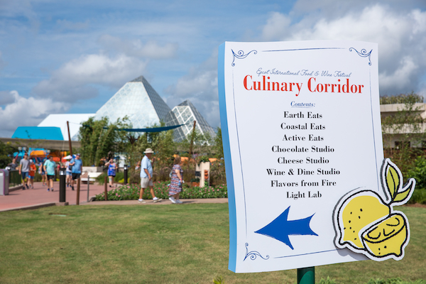 Sign about the Culinary Corridor at the International Food and Wine Festival at EPCOT in the Fall