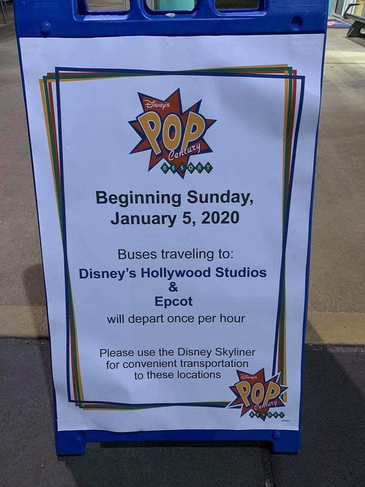 A sign showing the Pop Century bus changes for the Skyliner to one bus per hour to EPCOT and Hollywood Studios