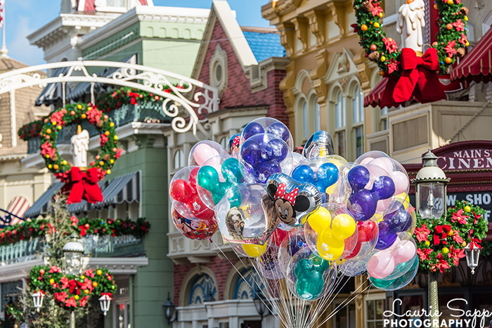 The Christmas decorations on Main Street along with some balloons