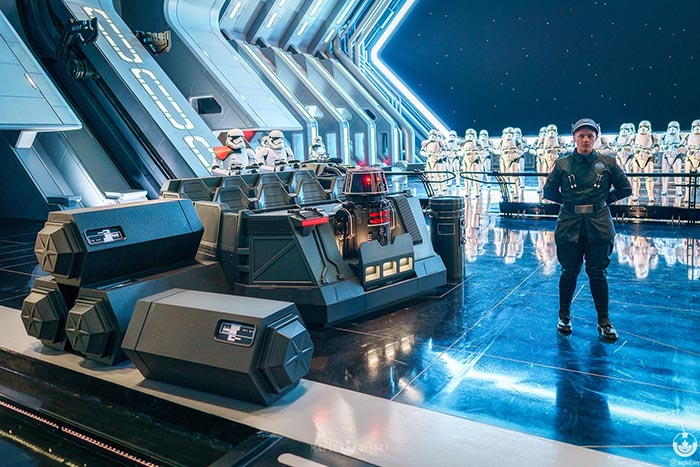 The Storm Troopers in the Hanger bay at Rise of the Resistance