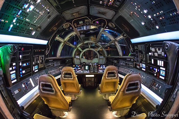 Inside the cockpit of the Millennium Falcon