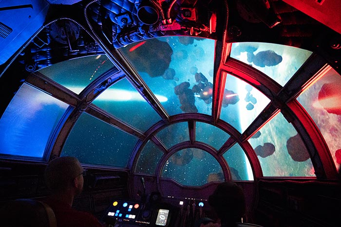 I've got a bad feeling about this. Looking outside the window on Millennium Falcon: Smugglers Run.