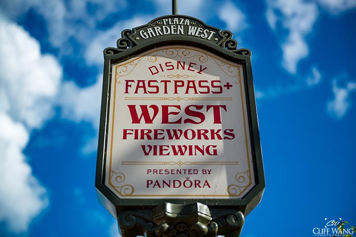 The FastPass+ sign for the Fireworks show in the Magic Kingdom