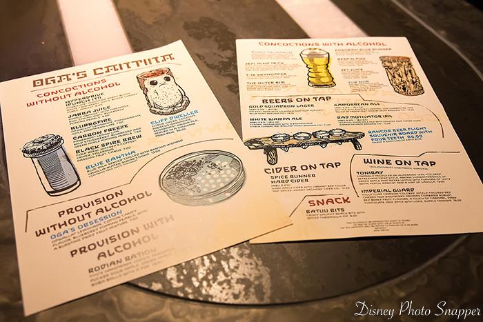 The menus at Oga's Cantina