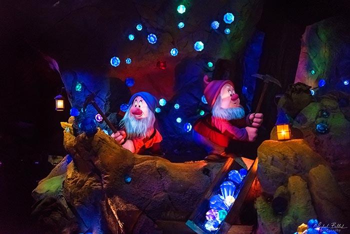 The mine scene from Seven Dwarfs Mine Train in Fantasyland