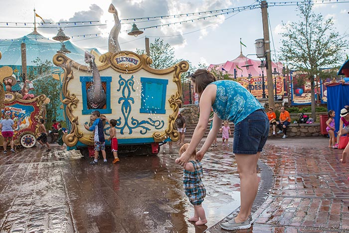 Casey's Splash Pad is a great place for little ones to cool off in Fantasyland