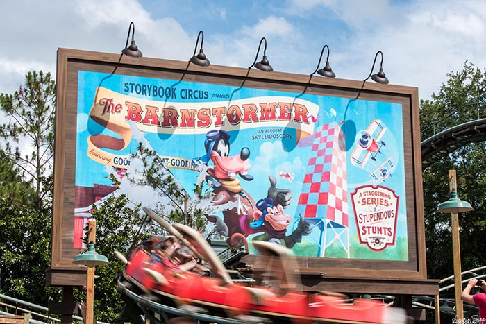 A billboard for the Great Goofini ride in Fantasyland