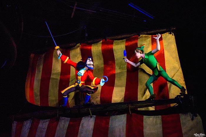 Peter Pan fighting Captain Hook in Peter Pan's Flight in Fantasyland
