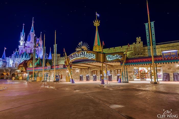 Mickey's Philharmagic in Fantasyland at night