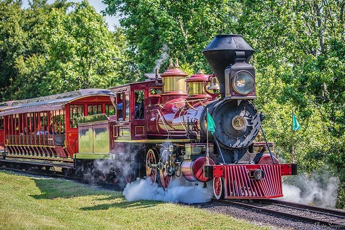 The Walt Disney World Railroad leaving the Fantasyland Railway Station